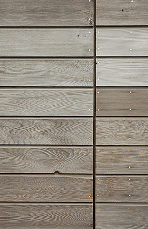 weathered Canadian western red cedar cladding