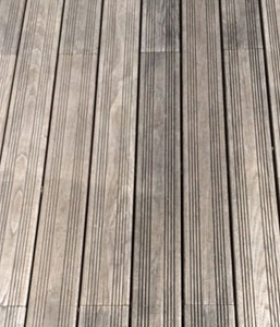 Weathered thermally modified ash decking