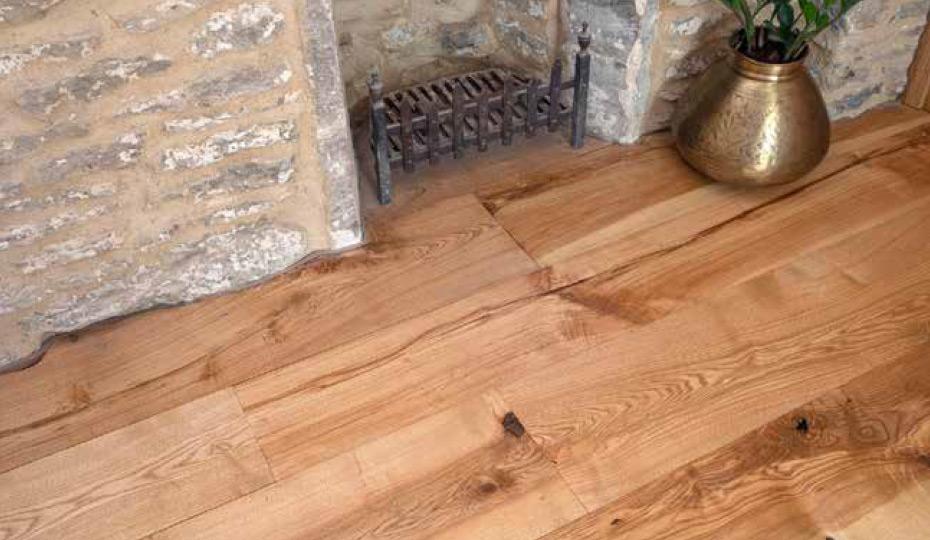 Solid English ash flooring