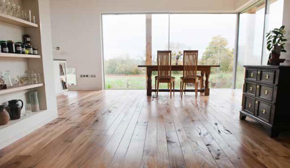 Solid British elm flooring