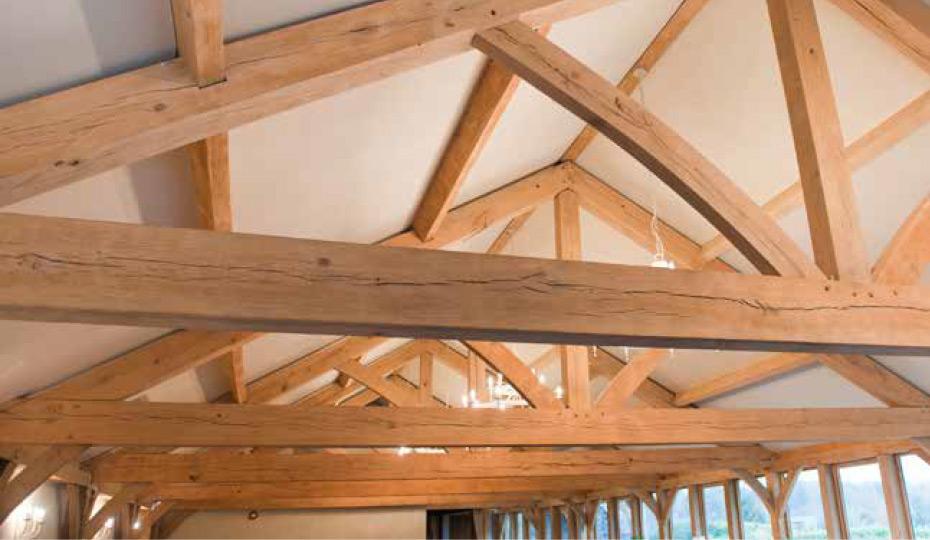 Fresh sawn oak beams